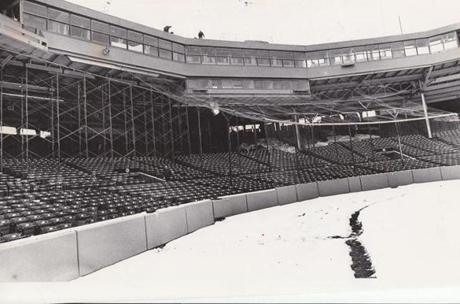 The Red Sox unveiled a new, enclosed press box in 1976.