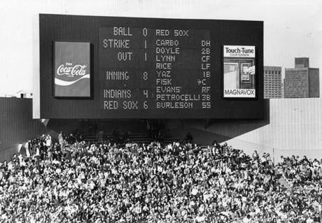 The Red Sox unveiled a new electronic scoreboard in center field on Opening Day in 1976.