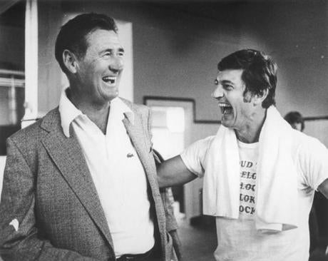 Ted Williams shared a laugh with Carl Yastrzemski during a visit to Fenway on Aug. 24, 1976.