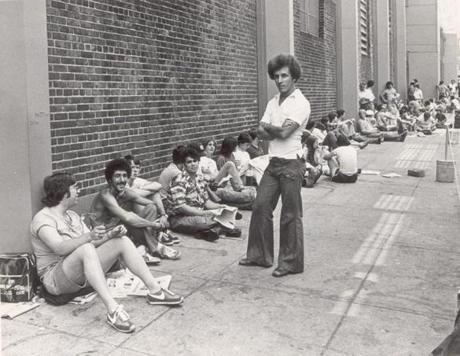 Fans lined up outside Fenway Park on June 19, 1978, waiting for the sale of bleacher seats to a Red Sox-Yankees game.