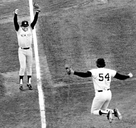 Yankees third baseman Graig Nettles and pitcher Rich Gossage erupt after closing out a win against the Red Sox in a one-game playoff in 1978.