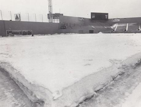 Just more than a month to Opening Day, Fenway Park was awash with snow on March 10, 1978.