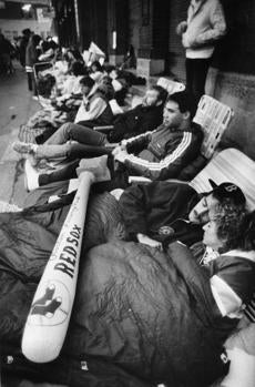 Fans settled in for a cold wait outside Fenway Park for playoff tickets on Oct. 5, 1986.