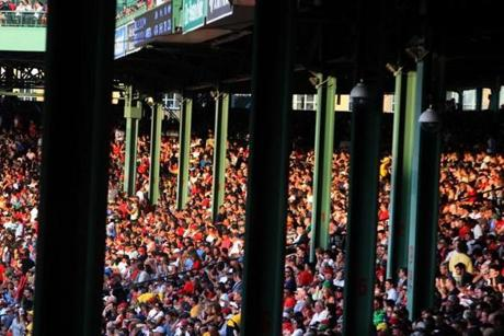Many fans encounter obstructed views because of poles inside Fenway Park.