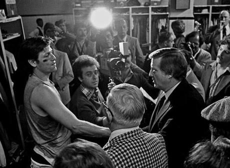 Yankees owner George Steinbrenner came to the Red Sox clubhouse and shook hands with Carlton Fisk after the game.