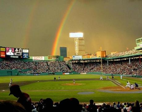 A rainbow rose above Fenway as the Braves and Red Sox played on July 7, 2000.