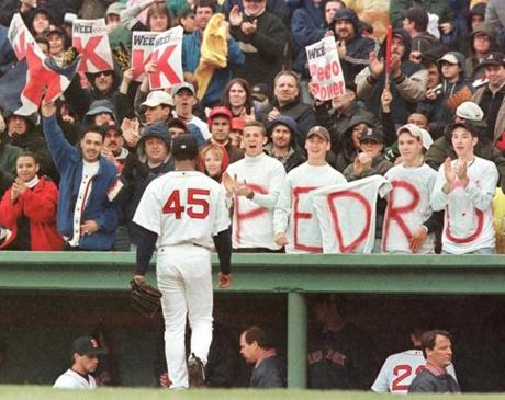 Fans cheered on Pedro Martinez during his April 8, 2001, start