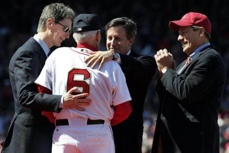 Red Sox owners bestowed a World Series ring on Johnny Pesky, who celebrated a title for the first time since joining the Red Sox in 1942.