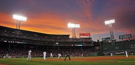 The multi-colored sunset was visible over the third base stands during this game against the Indians on Aug. 1, 2011.