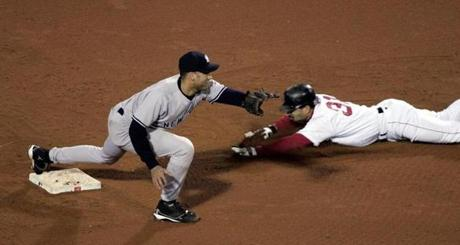 Dave Roberts slid into second just ahead of the throw with the stolen base that was key to the Red Sox' comeback in Game 4 of the 2004 ALCS.