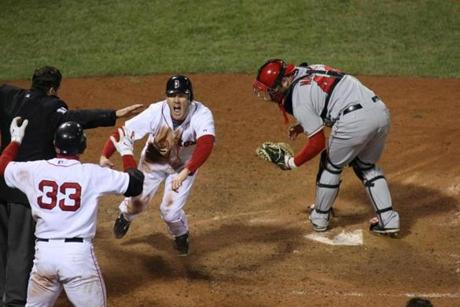 Jason Bay scored the walkoff run when the Red Sox eliminated the Angels in Game 4 of the 2008 ALDS.
