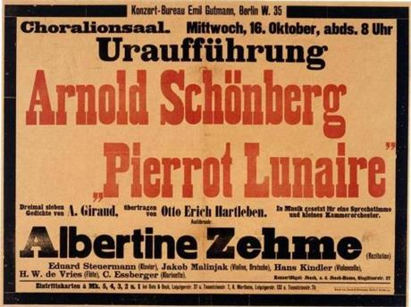 "A poster from the March 1912 premiere of Schoenberg's ""Pierrot Lunaire."""