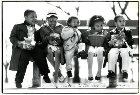 April 22 1984: After attending church, the Hicks children waited for their parents after a walk in Franklin Park. From left, James, 4, Nicole, 6, J.R., 2 1/2, Kenya, 4, and Mike, 3, shared their Easter goodies.