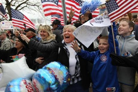 The soldiers, who were deployed in Afghanistan for 12 months, were welcomed back with enthusiasm.