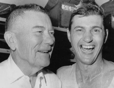 Carl Yastrzemski, right, and Tom Yawkey were all smiles after capturing the AL pennant in 1967.