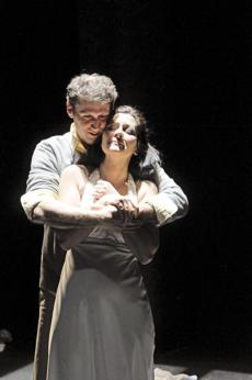 "Mauro Hantman as J.P and Angela Brazil as Becca in ""Love Alone."""