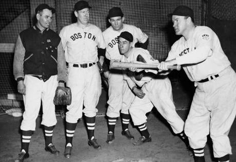 Then-manager Joe Cronin, right, demonstrated the art of bunting in 1949.