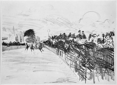 "An etching by Manet titled ""The Races"" which he returned to later in larger paintings."