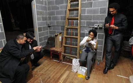 Members of The Harlem Quartet chilled backstage before their performance at the Emerson Umbrella Center for the Arts on April 1, 2012.