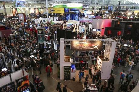 The space set aside for tabletop players at PAX East is roughly as large as the adjacent show floor for video game companies.