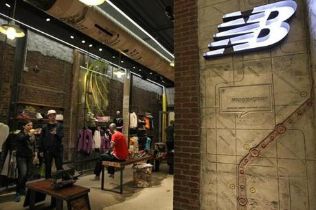 Boston, MA., 04/10/12, A new New Balance store opens up on Boylston Street. On right is the Boston Marathon route. Section; Business Suzanne Kreiter/Globe staff