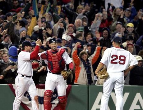 Jason Varitek was all smiles after catching Ruben Sierra's bases-loaded, two-out foul ball to end the game.