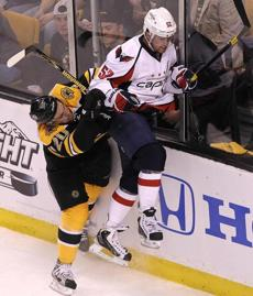 Daniel Paille went up against Capitals defenseman Mike Green during Game 1.