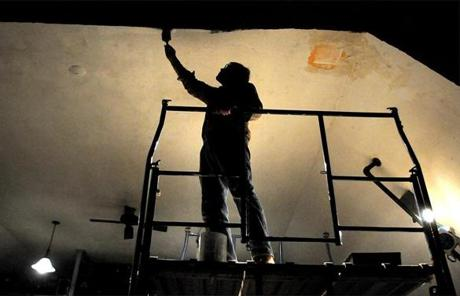 Braintree 4/14/2011- At Curtain Call Theatre in Braintree, member Peter Kates of Norwell paints the ceiling. Photo by Debee Tlumacki for the Boston Globe(regional) Reporter: Jessica Bartlett