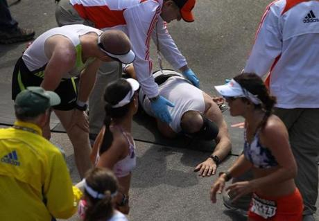 A runner collapsed at the finish line.