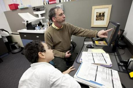 Pediatrician Dr. Larry Cohan saw patient Isaac Brown at his office in Boston on March 27.