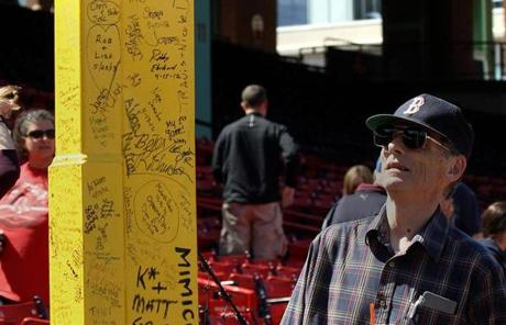 Needham resident Brendan Mulkern, who has come to Fenway since 1949, checked out Pesky's Pole.