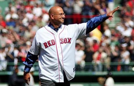 slider -- Boston-04/20/2012 Boston Red Sox vs New York Yankees at the 100th birthday celebration of Fenway Park. Terry Francona waves to the current Red Sox team as he enters the park. Boston Globe staff Photo by John Tlumacki(sports)