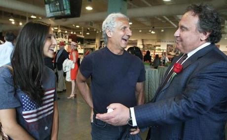 4-20-2012 Boston, Mass. Red Sox Luncheon to celebrate 100th Annerversary at Fenway Park.L. to R. are Lila Abboud and her dad Designer Joseph Abboud with Red Sox Vice Chairman David Ginsberg. Globe photo by Bill Brett