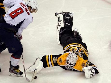 Tim Thomas came out of his net in the second period to make this save on Capitals Alex Ovechkin.