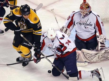 Milan Lucic couldn't get the stick on a loose puck in front of Capitals goalie Braden Holtby in the third period.