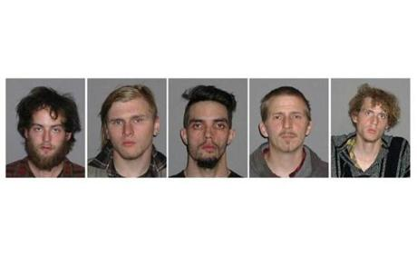 These FBI photos show, left to right, Connor Stevens, Brandon Baxter, Douglas Wright, Anthony Hayne and Joshua Stafford. The five self-described anarchists were arrested in a plot to blow up an Ohio bridge, but the public was never in any danger, the FBI said Tuesday.
