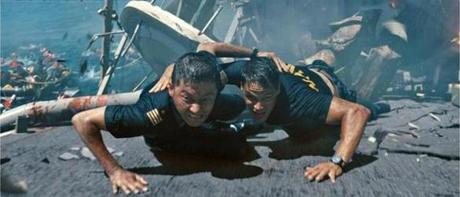 "Tadanobu Asano, left, and Taylor Kitsch in ""Battleship."" �"