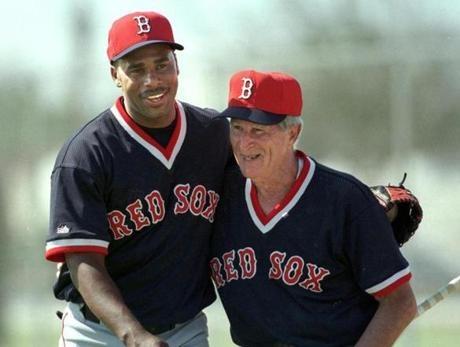Working out with Pesky became a rite of passage for Red Sox players, and Jose Offerman took ground balls from Pesky on his first day with the Red Sox in 1999.