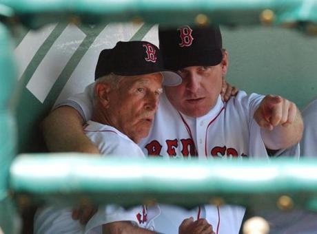 Curt Schilling spent time conferring with Pesky in 2004, his first spring training after being acquired from Arizona.