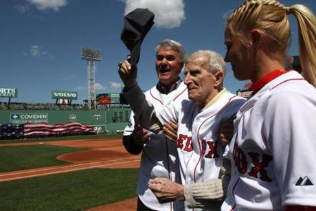 Pesky, with fellow Red Sox legend Dwight Evans, was one of the team's honored guests at Fenway Park's 100th anniversary in April 2012.