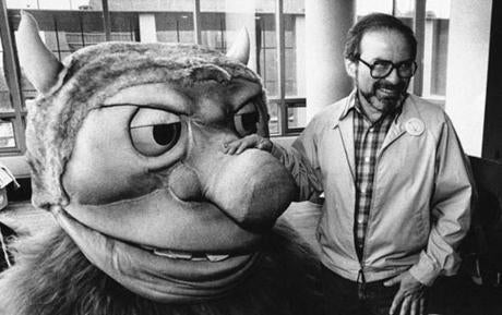 Maurice Sendak posed with one of the characters from his book ''Where the Wild Things Are,'' designed for the operatic adaptation of his book in St. Paul, Minn.