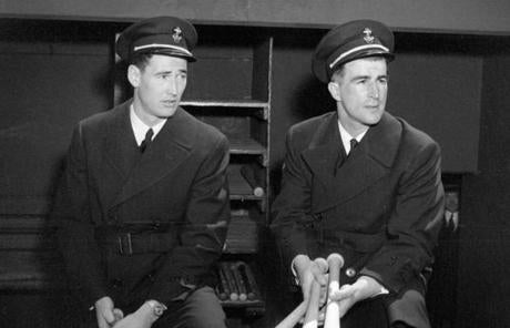 Pesky, right, with Ted Williams, left the Red Sox after his rookie season to spend three seasons in military service. He returned in 1946 and led the team in hits in three straight seasons.