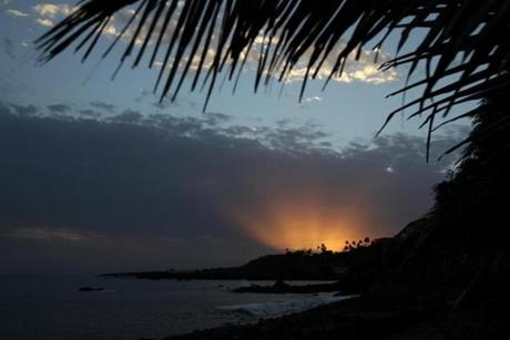 Sunset at Cidade Velhia on the island of Santiago where the capital of Cape Verde, Praia, is located.