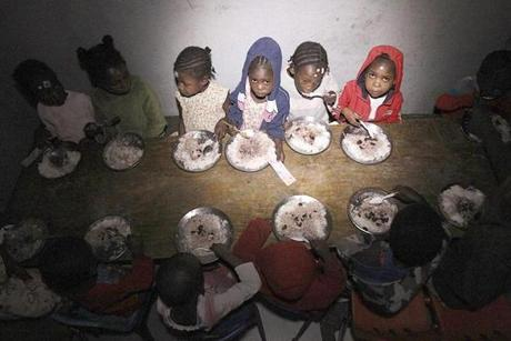 The hardest thing for Filis Casey to see was the children eating their meals in total darkness.