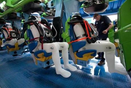 Test dummies filled with water were used for safety tests on Six Flag's new Goliath roller coaster.