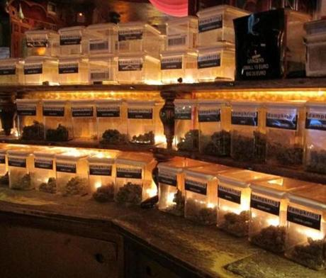 The cafes offer a selection of marijuana.
