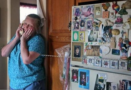 Terri Killam took calls from relatives yesterday as she waited for word about her niece Margaret Theriault.