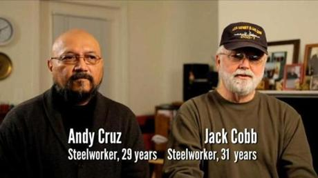 The Obama ad uses laid-off steelworkers to challenge Mitt Romney's business acumen.