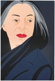 "Alex Katz's penchant for borrowing the idioms of fashion illustration and movie close-ups is seen in ""Black Scarf,'' a portrait of his wife, Ada."