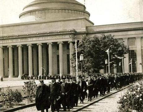 "June 8, 1926: The ceremonial parade at the Massachusetts Institute of Technology's Commencement was led by President Samuel W. Stratton and his escort, Chief Marshall Colonel A. Macomber. Out of the 637 degrees awarded,  four women received degrees; three for bachelor of science and one in public health. Dr. Michael I. Pupin, director of the Phoenix Research Laboratories at Columbia University and president of the American Institute of Electrical Engineers, gave a speech entitled ""The Idealism of Science."""
